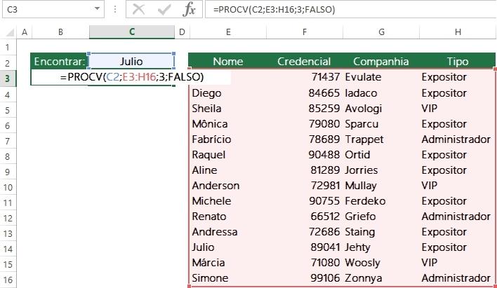 Encontrando dados em colunas usando ProcV-4